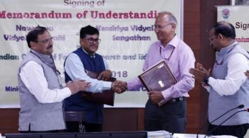 ICFRE Signs  MoU with Navodaya Vidyalaya Samiti and Kendriya Vidyalaya Sangathan on 15th October, 2018 at MoEF&CC, New Delhi